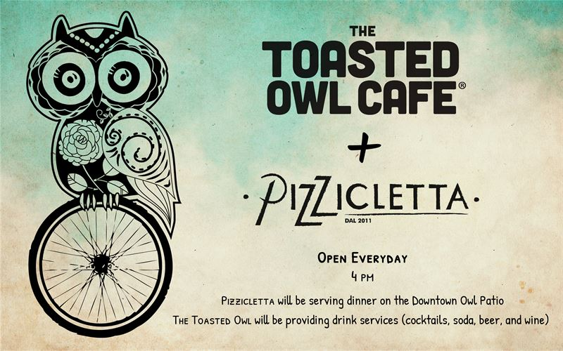 Toasted Owl Logo + Pizzicletta Wheel
